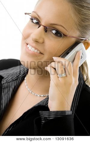 Young happy businesswoman calling on mobile phone, smiling, isolated on white background.