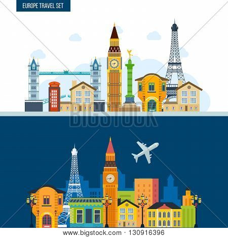 French Landmarks. Travel to Europe. London and Paris city. Historical and modern building.