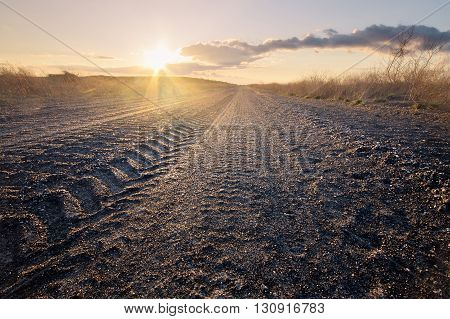 Coal Road Industrial Zone Ukraine / sunset low angle