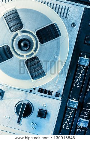 Old Reel Tape Recorder In Toning