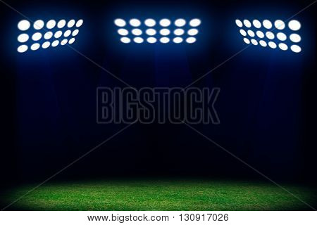 Three spotlights on soccer field. Sport abstract background with copy space