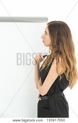 Caucasian business woman thinking and looking to the copy space in front of the copy space. Isolated on white background.