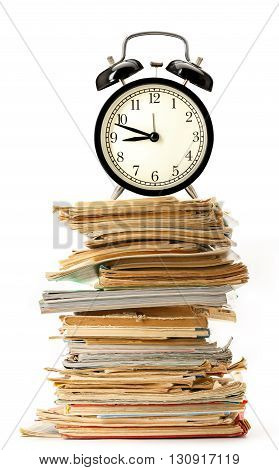 Old Books And Magazines With Alarm Clock