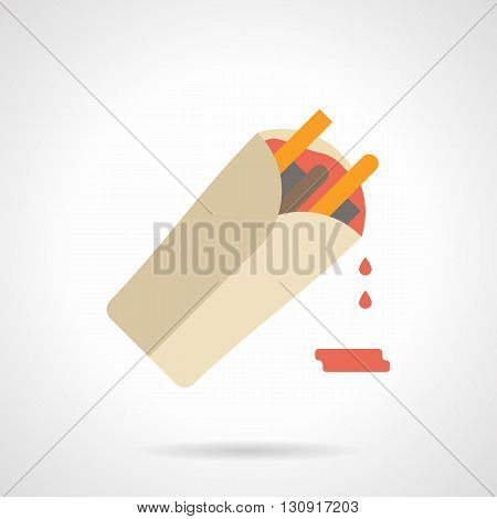 Burrito with filling and red sauce. Traditional mexican cuisine, menu for restaurant. Vegetables, meat and cheese ingredients for lunch, spicy food. Flat color design vector icon.