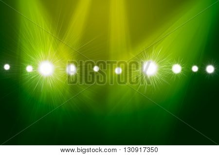 Spotlights on smog background. Template for design