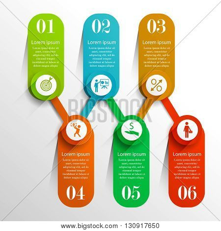 Business timeline infographic template with 6 banners. Can be used for workflow layout,  business concept with 6 options, parts, steps or processes, chart, web design