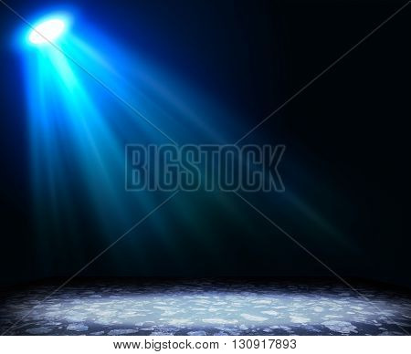 Abstract light blue background with textured floor. Template for design