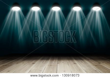 Background with wooden floor and spotlights. Copy space