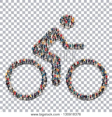 A group of people in the form of a cyclist, sport ,  isometrick , web infographics concept  illustration of a crowded square, flat 3d. Crowd point group forming a predetermined shape. Creative people.Transparency grid.3D illustration.