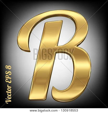 Vector letter B from gold solid alphabet. Eps 8 using mesh.