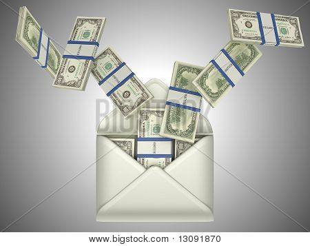 Us Dollars In Opened Envelope
