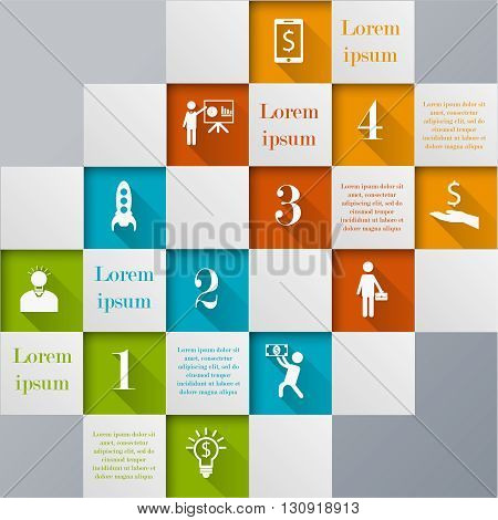 Abstract digital mosaic infographic template.  Vector illustration can be used for workflow layout, number options, web design. Business concept with 4 options, parts, steps or processes