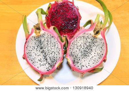 Dragon fruit on the wood table, Thai fruit.
