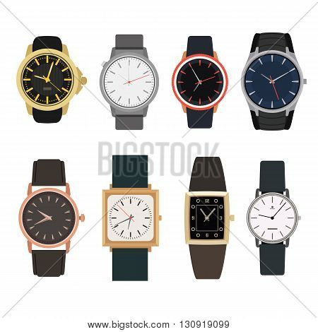 Set of watches in classic design. Vector illustration. Man gold watches isolated on white background.