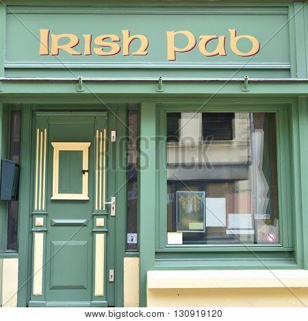Irish Pub, frontal view. Irish culture, close-up of an old pub.
