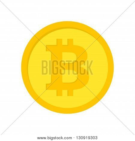Vector flat bitcoins icon on white background.