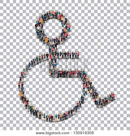 A group of people in the form of a disabled , transparent,   isometrick , web infographics concept  illustration of a crowded square, flat 3d. Crowd point group forming a predetermined shape. Creative people.Transparency grid. 3D illustration.