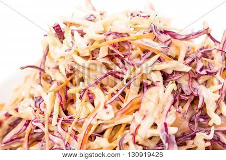 Healthy fresh coleslaw salad. Macro. Photo can be used as a whole background.