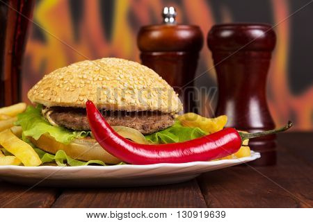 Hamburger, french fries, chili and spices on a background of flames.