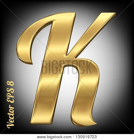 Vector letter K from gold solid alphabet. Eps 8 using mesh.