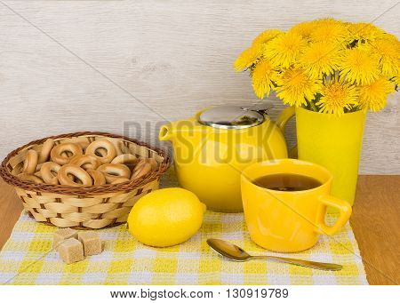 Tea With Sugar And Lemon, Bagels And Bouquet
