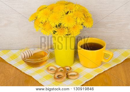 Tea With Sugar, Bagels And Bouquet Of Dandelions