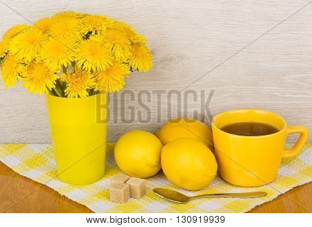 Tea With Sugar And Lemon, Bouquet Of Flowers