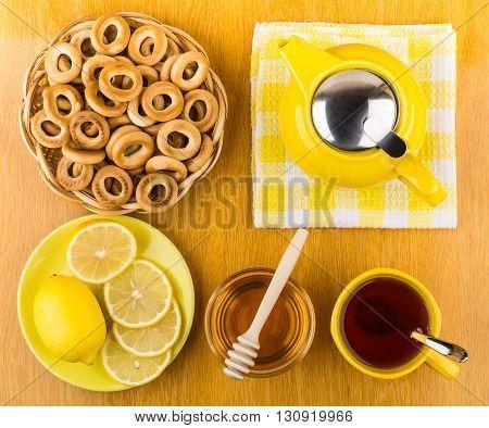 Tea With Honey And Lemon, Bagels In Wicker Basket