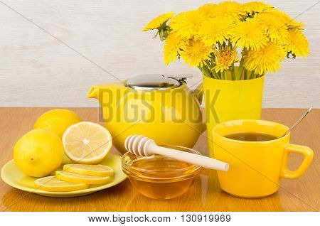Tea With Honey And Lemon, Bouquet Of Dandelions