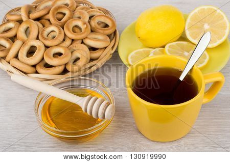 Tea With Honey And Lemon, Wicker Basket With Bagels