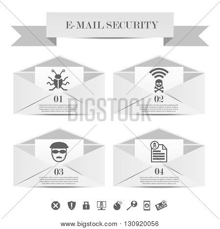 Abstract envelope set e-mail security concept. Email protection from spam