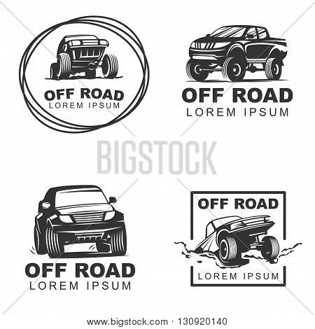 Set off-road suv car monochrome labels emblems badges or logos isolated on white background. Off-roading trip emblems 4x4 extreme club emblems. Vector EPS10.