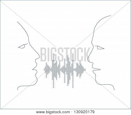 Vector illustration of two people talk face to face. Communication through dialog, Two people share words in sound wave equalizer on white background.
