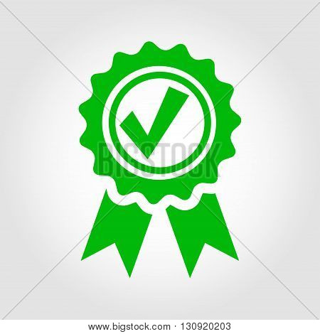 Vector green approved certificate icon on grey background. Certified Seal Icon