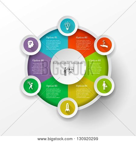 Abstract business circle infographic concept with 8 options. Can be used for workflow layout, parts, steps or processes, banner, chart, web design. Template for cycle diagram, graph and presentation