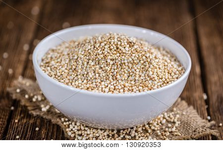 Puffed Quinoa (selective Focus; Close-up Shot) On Wooden Background