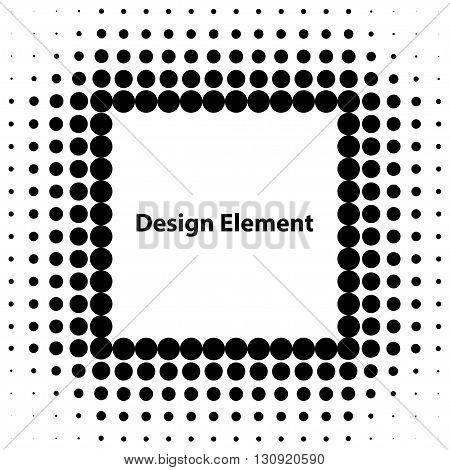 Vector abstract halftone design elements. Halftone dots quare