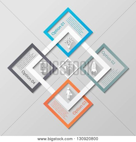 Infographic diamonds business template. Abstract 3d infographic covered diamonds with 4 options, icons and text. Can be used for workflow layout, diagram, number options, step up options, web design