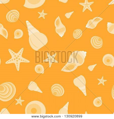 Seamless pattern with shells and sand. Sea summer theme.