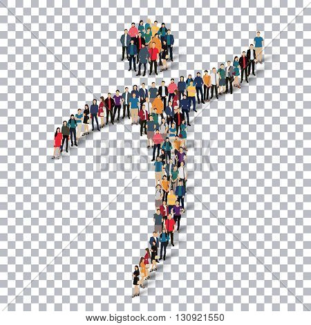 Isometric set of styles, man, symbol , web infographics concept illustration of a crowded square, flat 3d. Crowd point group forming a predetermined shape. Creative people.Transparency grid .3D illustration.