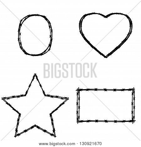 Vector black wire in various shape on white background. Set of various shapes and frames of barbed wire - square circle heart