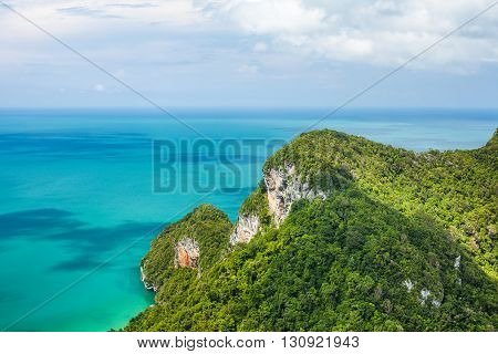 Beautiful tropical sea and mountain. Ang Thong National Marine ParkThailand. Top view. Nature background.