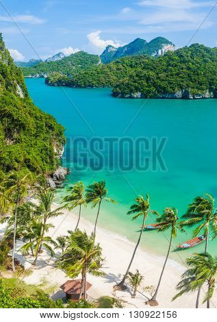 Paradise beach on tropical island. Ang Thong National Marine ParkThailand. Top view