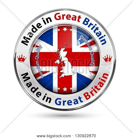 Made in Great Britain - label / icon / badge with the United Kingdom's map and flag.