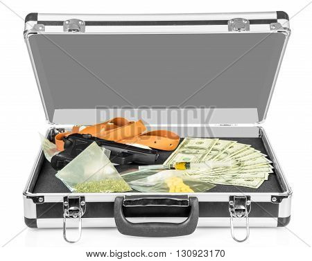 Case with money, guns and drugs isolated on white background.