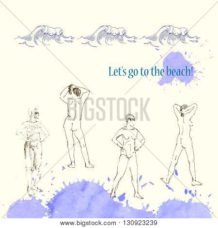Backgrounds with women on the beach.Hand drawn sketches vector illustration. Waves and rest