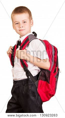 Lovely student with a red backpack isolated on white background.