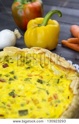 Savory Pie With Peppers, Onion, Carrots And Zucchini