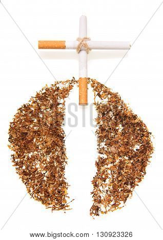 Cross of cigarettes isolated on white background.
