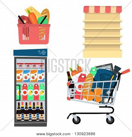Vector set supermarket icons. Store shelves, food items, basket, equipment store. Flat style. Isolated on white background for your design